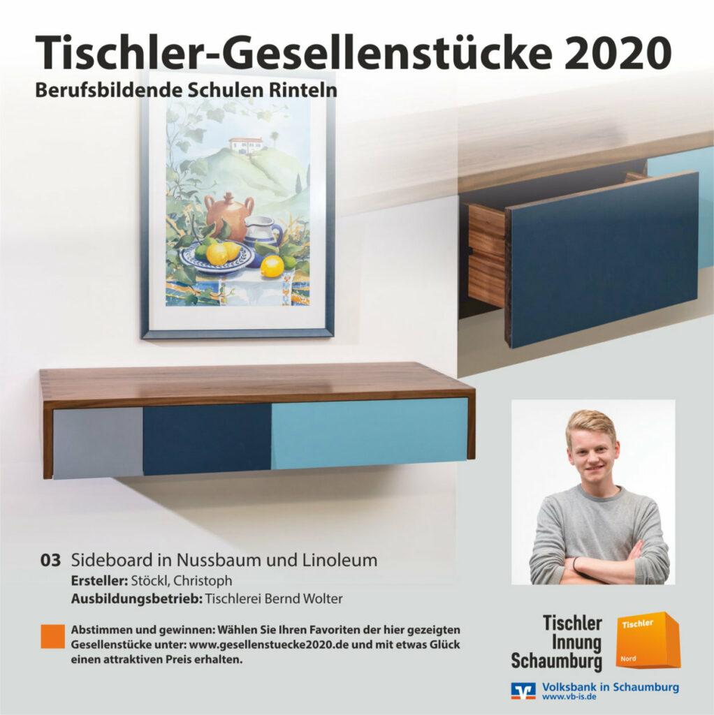 Bild Nr. 03 - Sideboard in Nussbaum und Linoleum