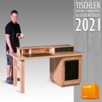 Bild 10-Schreibtisch mit Aufsatz in Eschenholz lackiert